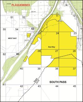 "A map of EPL's ""East Bay"" oil leases off the shore of Louisiana, near a channel of the Mississippi River."